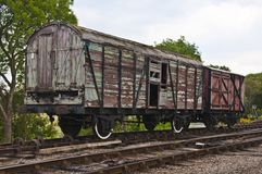 Broken down old railway wagons Stock Photo