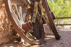 Broken down wagon wheels in old west Royalty Free Stock Photos