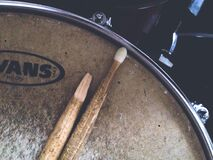 Broken drumstick on drum