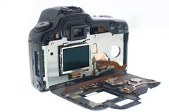 Broken dslr camera Stock Image