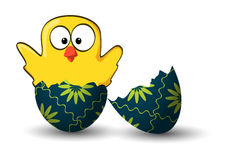 Broken easter egg with chicken happy wave Royalty Free Stock Photos