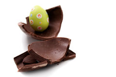 Broken Easter egg in pieces Stock Image