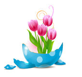 Broken easter egg with tulips Royalty Free Stock Image