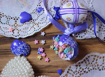 broken Easteregg stars decoration glitter Royalty Free Stock Photos