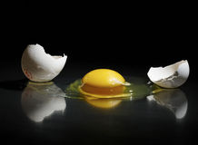 Broken Egg. A broken egg with the yolk at the center, on black studio background Stock Photo