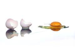 Broken egg. A broken egg and its reflection, on white Royalty Free Stock Photos