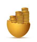 Broken egg and coins illustration design Royalty Free Stock Image