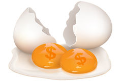 Broken egg with dollar icon Stock Images