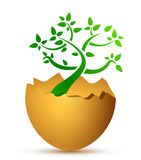 Broken egg with the ecological tree Stock Photo