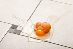 Broken egg on the floor Stock Images