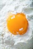 Broken egg on flour Royalty Free Stock Photos
