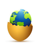 Broken egg and globe inside. illustration design Royalty Free Stock Photos
