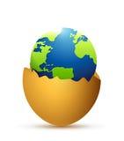 Broken egg and globe inside. illustration design Royalty Free Stock Photos