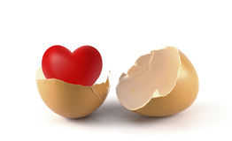 Broken egg and heart Royalty Free Stock Photos