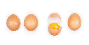 Broken egg isolated placed Royalty Free Stock Photo