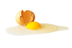 Broken egg isolated on white Stock Photography