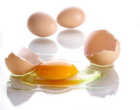 Broken egg over white Stock Photo