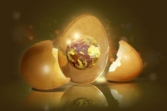 Broken egg with the planet inside Stock Images