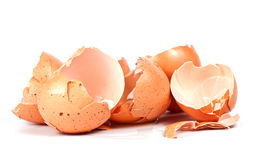 Broken egg shells isolated on white Stock Photo