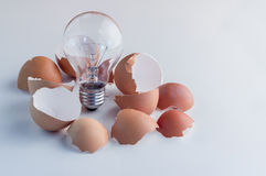 From the broken egg the shone lamp is pulled out. Royalty Free Stock Photography