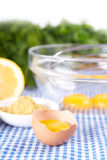 Broken eggs in bowl with lemon and mustard Stock Images