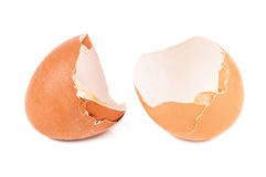 Broken eggs shell. On white background royalty free stock photography