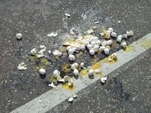 Broken eggs on street Stock Images