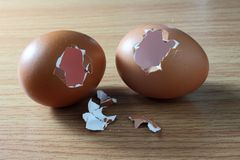 Broken eggs Stock Photography