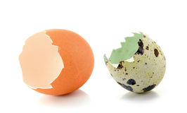 Broken eggshell  on white background Stock Photo
