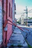 Broken Electrical Panel. Broken panel in the alley ways of Longview Stock Photo