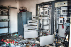 Broken electricity panels in hdr Stock Photography