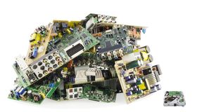 Broken electronics on a garbage dump Stock Photos
