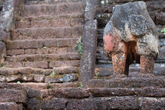 Broken elephant. Build from red stone Royalty Free Stock Photography