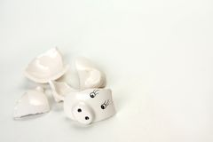 Broken and Empty Piggy Bank Background Royalty Free Stock Photos
