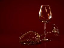 Broken Empty Wine Glass Stock Photography