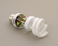 Broken energy-efficient lamp Stock Photography