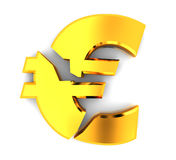 Broken euro. 3d illustration of broken euro sign, over white background Stock Photos
