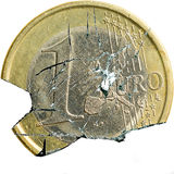 Broken euro. 1 euro coin shot as if broken into bits Stock Photos