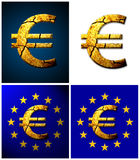 Broken  Euro. A set of illustrations of a broken euro at blue and white background with the flag of the european union Royalty Free Stock Image