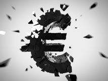 Broken euro. 3d rendered abstract illustration of a broken euro sign Stock Photography