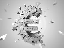 Broken euro. 3d rendered abstract illustration of a broken euro sign Stock Photo