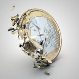 Broken euro coin. On neutral background Royalty Free Stock Photos