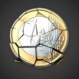 Broken euro coin. On neutral background Stock Image
