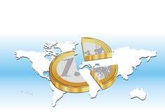 Broken Euro Coin With Blue Background. Vector illustration of a broken Euro coin placed on World map Stock Photos
