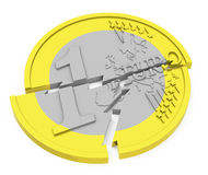 The broken euro coin. 3d generated picture of a broken euro coin Royalty Free Stock Photos