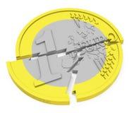 The broken euro coin Royalty Free Stock Photos