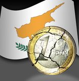 Euro crises Cyprus. Broken euro coin with the flag of cyprus in the background Royalty Free Stock Image