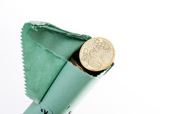Broken Euro coin roll Stock Photos