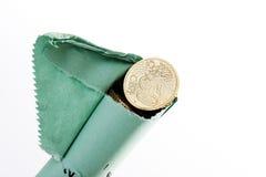 Broken Euro coin roll Stock Photos
