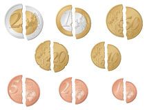 Broken euro coins Royalty Free Stock Photos